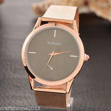 1 Damenuhr Armbanduhr Quarzuhr Analog Rosegold Schwarz Netzband Mode Geschenk