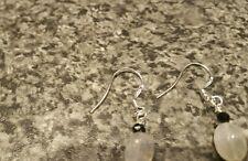 925 Sterling Silver Moonstone Un Noir Spinelle Boucles d'oreilles