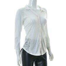 Hollister Womens top casual shirts lady White Button Front Classic size M medium
