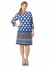 Eliza J Women's Shift Dress Ponte Knit Triangle Patterned 16W V-back 3/4 Sleeve