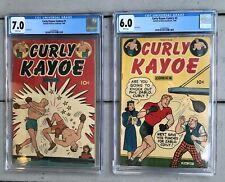 Vintage Boxing Curly Kayoe Comic Books No. 1 & No. 2 CGC Graded 7.0 And 6.0