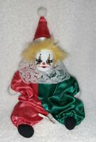 "Rare Vintage ARTMARK Clown Porcelain Head Doll Chicago Inc. 9"" Harlequin Jester"