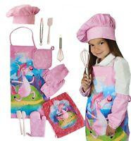 Kids Apron Cooking & Baking Set with Real Utensils - Kids Chef Hat and Apron Set