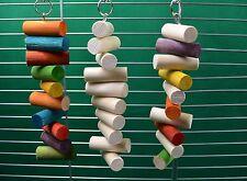3 Pack Plain & colorato da appendere tormentare giocattolo legno Masticare CINCILLA' , octodon degus, ratti, pappagallo