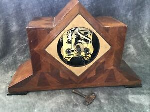 Vintage Dimra Germany Wooden Mantle Clock Marquetry Face For Restoration
