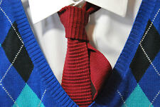 "Boy's / Men's Jaunty Maroon ""Cottonit by Rooster"" Cotton Knit Narrow Necktie"