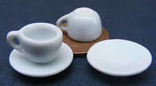 1:12 Scale 2 White Ceramic Cups & Saucers Tumdee Dolls House Drink Accessory W40