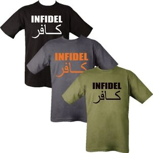 INFIDEL T-SHIRT 100% COTTON MENS S-2XL TOP ARMY FUNNY MORALE