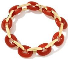 Technibond Bold Carnelian Bracelet 14K Gold Silver HSN