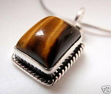 Tiger Eye Rectangle 925 Sterling Silver Pendant India