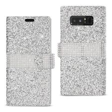 Samsung Galaxy Note 8 Case Wallet Luxury Bling Diamond Cover Card Holder Silver