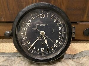 WW2 Era US Navy 24 HR CHELSEA Ship Clock w Bakelite Housing  - Ser# 363393