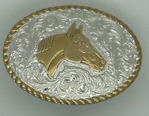 VINTAGE Crumrine Belt Buckle Quarter Show Horse Rodeo Western Cowboy Cowgirl