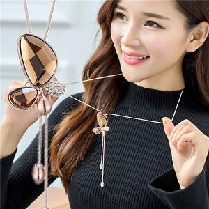 New Fashion Women Jewelry Chain Long Choker Crystal Pendant Statement Necklace