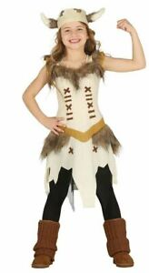 Girls Viking Costume Saxon Nordic Warrior Fancy Dress Book Day Childs Outfit