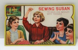 """Vintage """"Sewing Susan"""" Pack of 70 Gold Eye Needles with Threader Complete"""