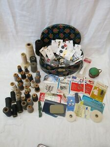 VINTAGE SEWING NOTION MOSTLY BUTTONS, THREAD, MISC. ITEMS LARGE LOT