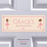 Personalised Door Sign Ballerina Child Bedroom Name Plaque Gift Girls Room