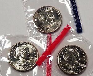 1981 P D & S Mint Cello BU UNC Susan B Anthony Dollars 3 US Coin Set GEM UNCIRCU