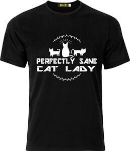 Perfectly Sane cat Lady funny humour Christmas Cotton T-shirt