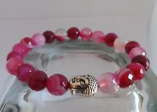 Faceted Pink Agate Gemstone Buddha Bracelet Stacking Yoga Bracelet Healing Mala
