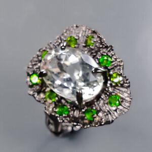 14x10mm Handmade SET Green Amethyst Ring Silver 925 Sterling  Size 8.5 /R178943