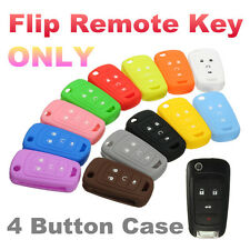 Silicone 4 Button Flip Remote Key Case Fob Cover Holder For Chevrolet GM US