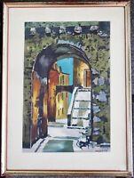 Lithografie orientalische Altstadtszene, gerahmt, sig. Riviere, 50er Jahre
