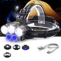 Waterproof 90000LM 5X XML T6+Blue LED Headlamp Headlight Flashlight Head Torch