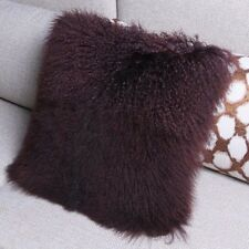 Handmade Mongolian Lamb Fur Pillowcase Brown Fur Seat Cushion Cover home decor