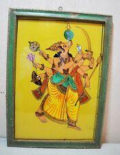 Original Vintage Water Color Glass Painting Hindu God Vishnu Avatar With Frame
