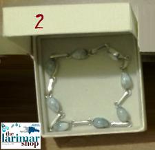 2 LARIMAR braccialetto bellissimo e elegante in argento rodiato 925% - bracelet