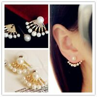 1 Pair New Fashion Women Lady Elegant Pearl Rhinestone Ear Stud Earrings Jewelry