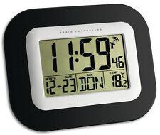 Funk Wanduhr schwarz LCD digital Uhr Wand funkgesteuert Funkuhr TFA Dostmann