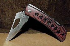 "Nib 3 7/8"" Closed Red & Black Lockback Blade Grained Handle Frost Cutlery Knife"