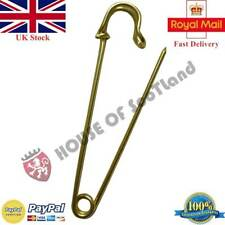 LARGE DURABLE STRONG METAL KILT SCARF BROOCH GOLDEN PINS SAFETY KNITTING STITCH