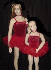 DELICIOUS Dance Costume Red Velvet Leotard Tutu & Choker Christmas Child X-Small