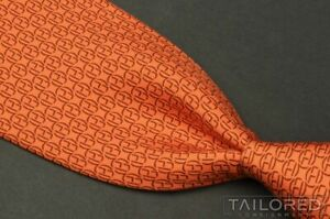 "HERMES 5506 UA Orange H Geometric 100% Silk Mens Luxury Tie - 3.625"""