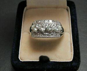 Breathtaking Men's Engagement Wedding Ring 14K White Gold 3.87Ct Round Diamond