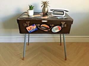 Vintage Suitcase Side Table/ Bedside Table/ Accent Table - Upcycled Furniture
