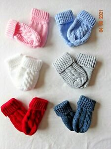 KNITTED CABLE MITTENS KNIT MITS INFANT BABY BOYS GIRLS WINTER WARM  0-12 MONTHS