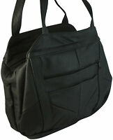 Pebbled LEATHER Purse 3 Compartment Handbag BLACK Organizer Shoulder Bag