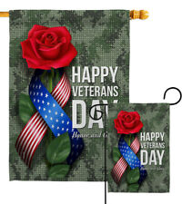Happy Veterans Day Garden Flag Armed Forces Decorative Gift Yard House Banner