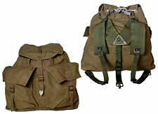 1950s Vintage Czech Army Backpack Khaki Canvas Rucksack Harness Hiking Retro