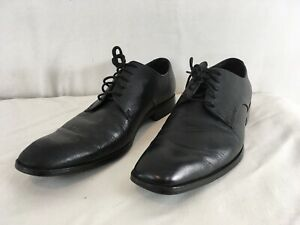 Calvin Klein Elton Mens 11M Black Textured Leather Oxford Dress Shoes