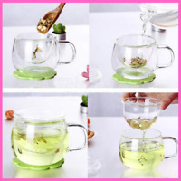 Transparent Coffee Mug With Infuser Filter Lid Clear Glass Milk Tea Water Cup
