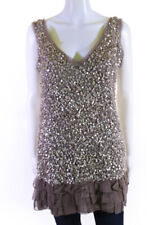 Young Fabulous & Broke Womens Silk Sequined Tiered Dress Beige Size Extra Small