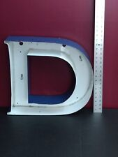 """18.5"""" Industrial salvage electric block Letter D Sign  Metal Letter blue/white"""