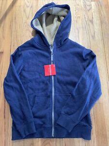 NWT Hanna Andersson Blue Hoodie tan Sherpa/Fleece Lined Sweatshirt-140