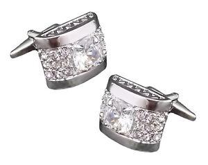 Crystal Clear Swarovski Gem encrusted Mens Gift Cuff links by CUFFLINKS DIRECT